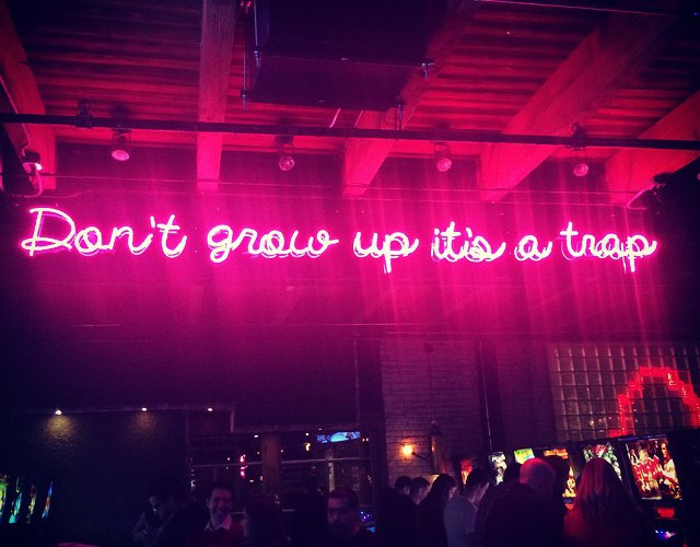 Neon signage at Headquarters Beercade...we agree.