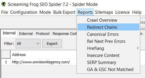 Screaming Frog Redirect Chain Report