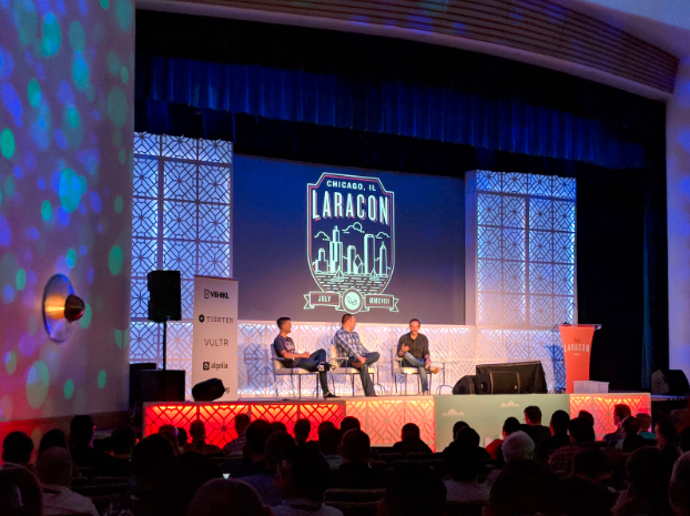 Web development discussion on stage at Laracon 2018 in Chicago