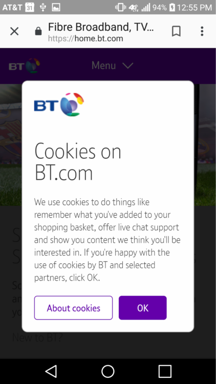Cookie popup notification covering view on BT.com