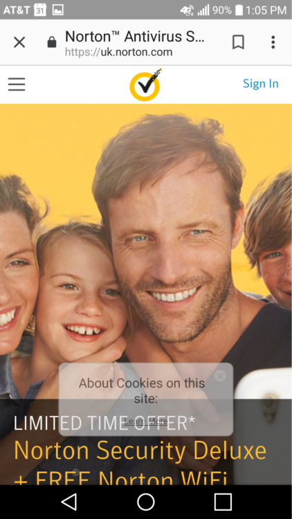 Unclear cookie policy popup on Norton.com
