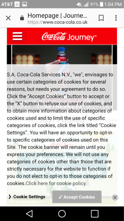 Lengthy cookie policy popup on Coca Cola