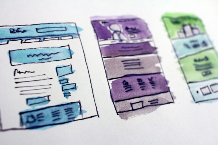 Multiple versions of a web page layout drawn and colored to show differences