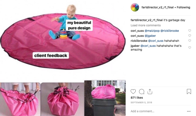 Fartdirector funny creative design process from Instagram