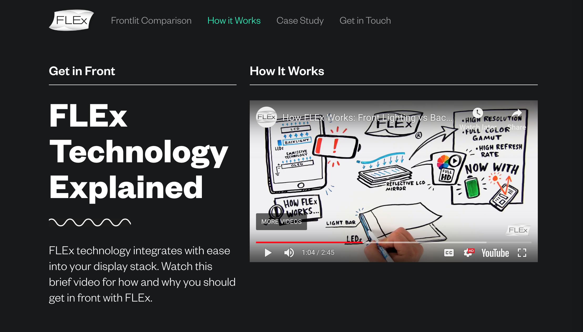 Screenshot of FLEx microsite and technology video