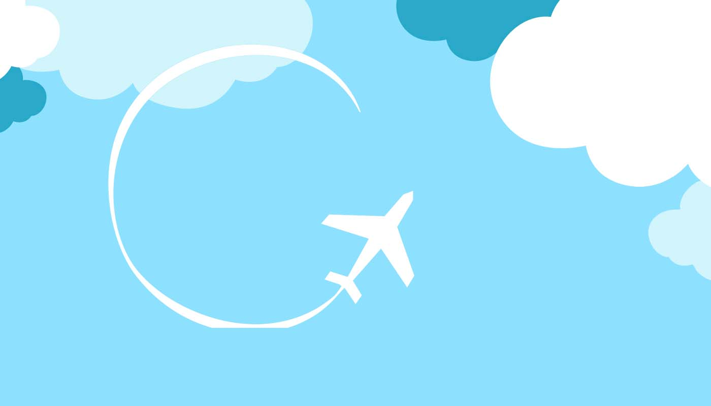 Graphic of a white silhouette airplane making a round trip in the sky