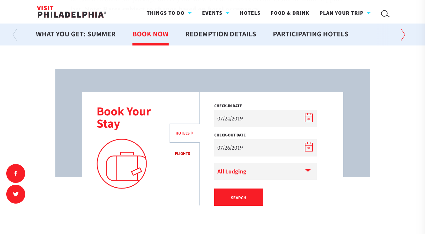 Visit Philly booking screenshot