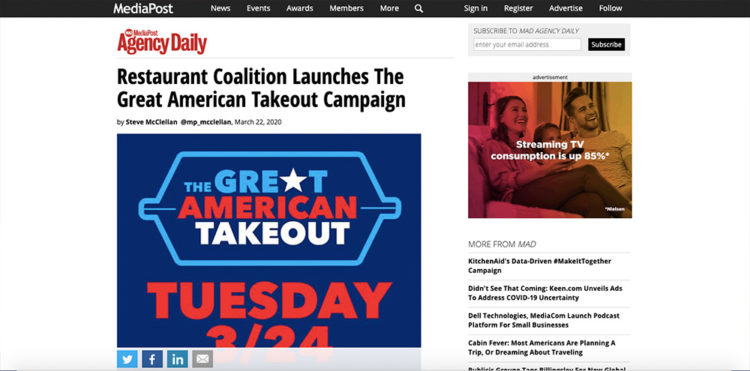 Restaurant Coalition Launches Great American Takeout Campaign