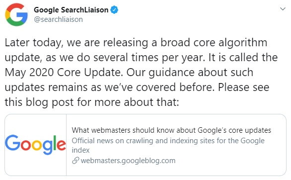 Google Search Liaison Google May 2020 Core Update